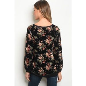 Blancheaux Tops - Black velvet floral long sleeve sweater top